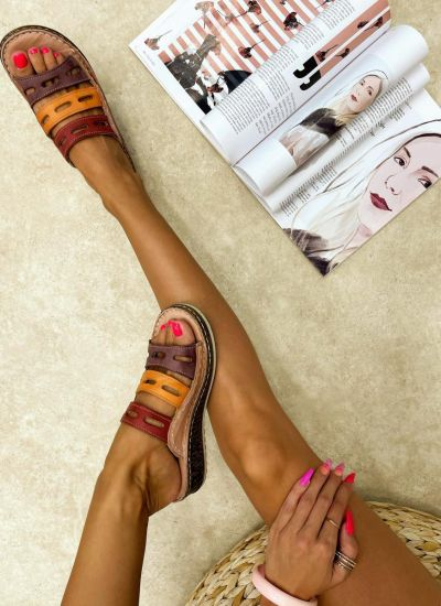 Leather slippers REME - ROSE
