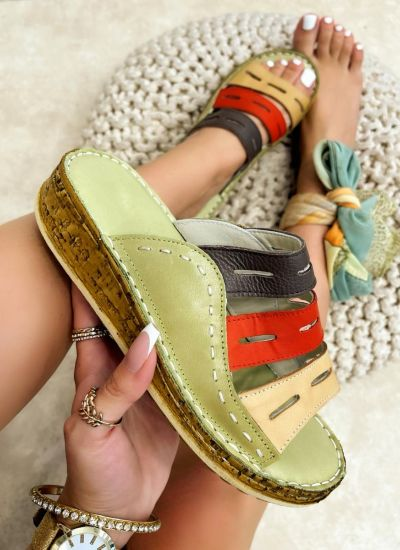 Leather slippers REME - GREEN