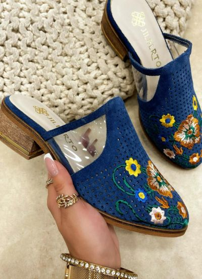 Leather slippers MHLIE - BLUE