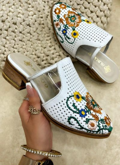 Leather slippers MHLIE - WHITE