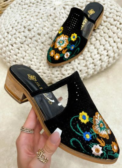 Leather slippers MHLIE - BLACK