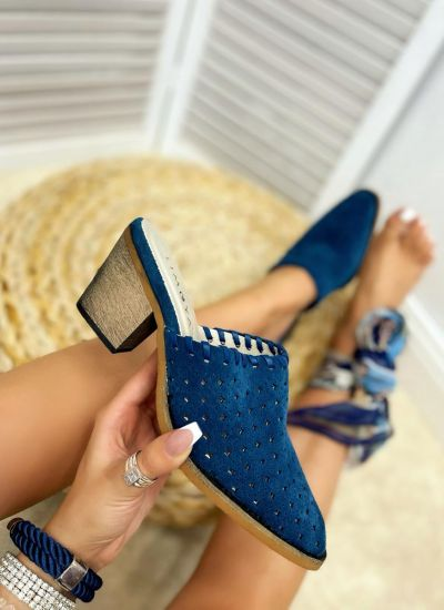 Leather slippers SINEAD - BLUE