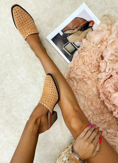 Leather slippers SINEAD - POWDER ROSE