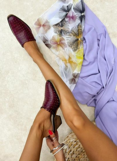 Leather slippers SINEAD - WINE RED