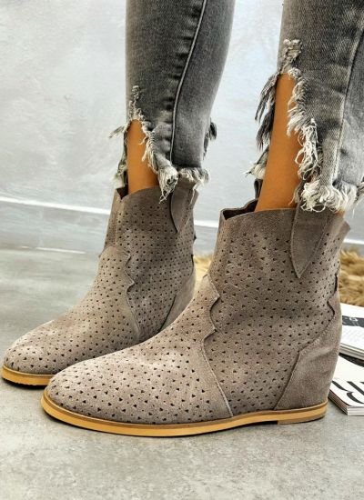 Leather ankle boots LAWRI - GREY