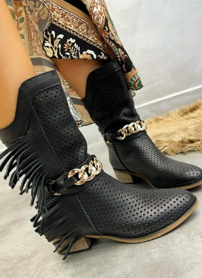Leather ankle boots ELA - BLACK