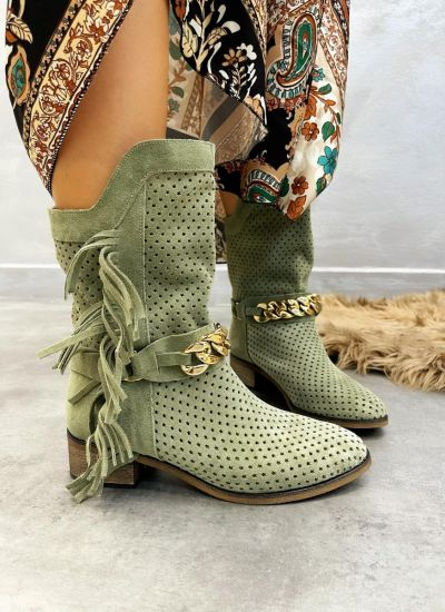 Leather ankle boots ELA - DARK GREEN