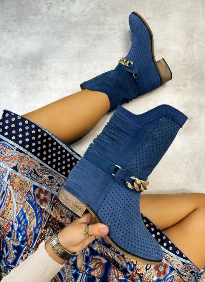 Leather ankle boots ELA - BLUE