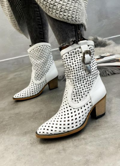 Leather ankle boots SIKATA - WHITE
