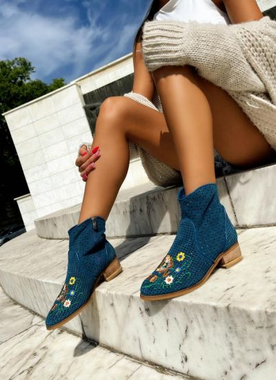 Leather ankle boots ZOEY - BLUE