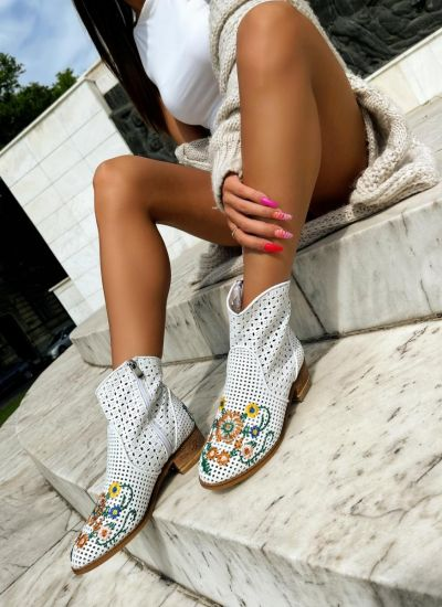 Leather ankle boots ZOEY - WHITE