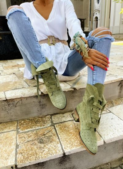 Leather ankle boots AMORA - GREEN