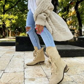Leather ankle boots AMORA - BEIGE