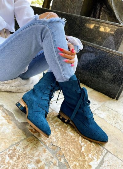 Leather ankle boots AMORA - BLUE