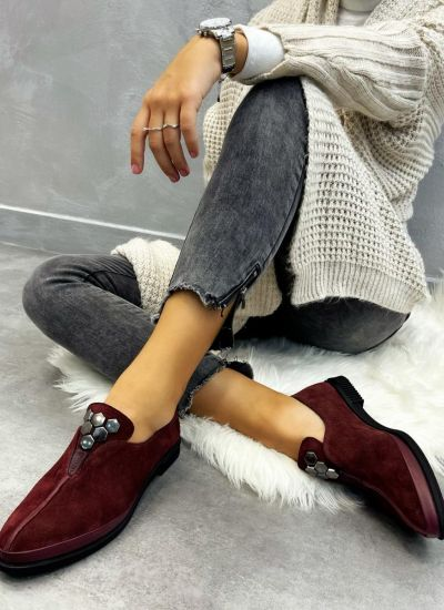 Leather shoes & flats PARIS - WINE RED