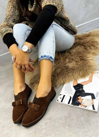 Leather shoes & flats SHIZA - BROWN
