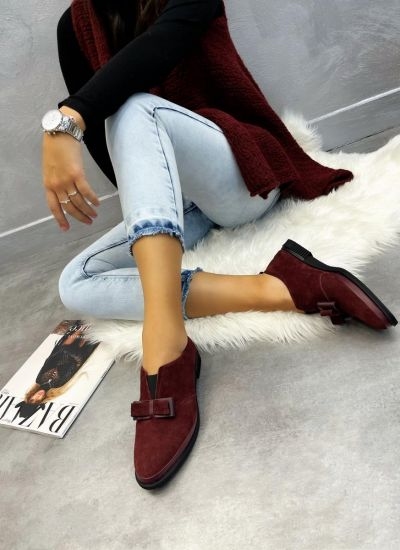 Leather shoes & flats SHIZA - WINE RED