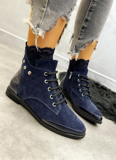 Leather ankle boots JENA - NAVY