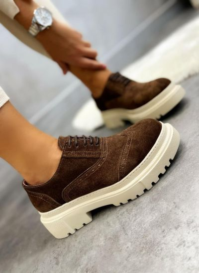 Leather shoes & flats NORA NUBUCK - BROWN