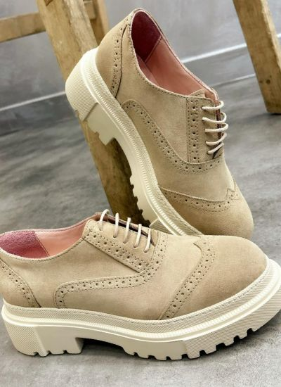 Leather shoes & flats NORA NUBUCK  - BEIGE