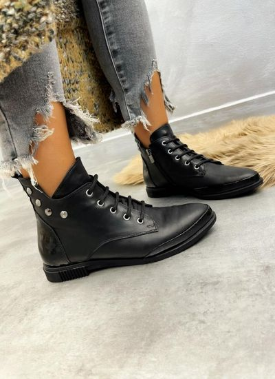 Leather ankle boots JENA - BLACK