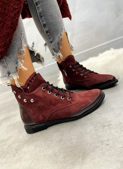 Leather ankle boots JENA NUBUCK  - WINE RED