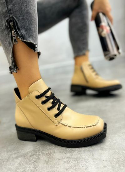 Leather ankle boots URSULA - BEIGE