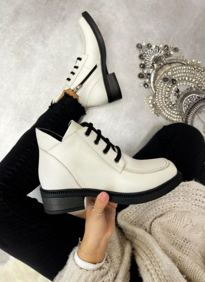Leather ankle boots URSULA - WHITE