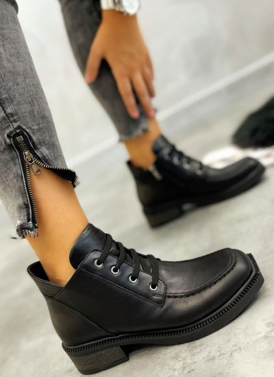 Leather ankle boots URSULA - BLACK