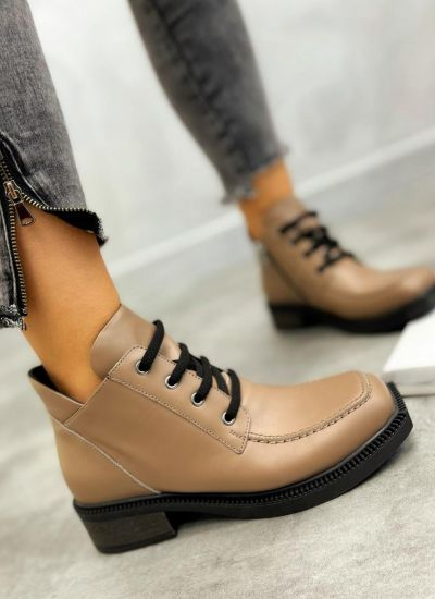 Leather ankle boots URSULA - BROWN