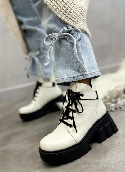 Leather ankle boots ODA - WHITE
