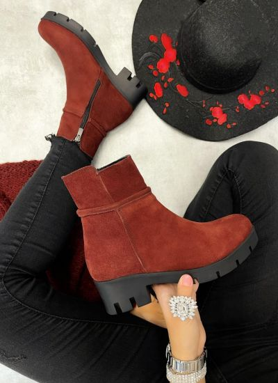 Leather ankle boots LORA NUBUCK  - WINE RED