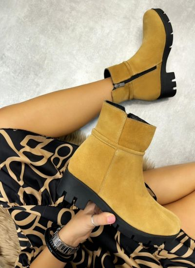 Leather ankle boots LORA NUBUCK  - BEIGE