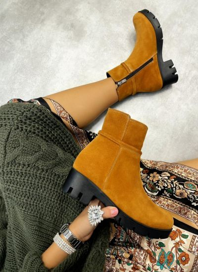 Leather ankle boots LORA NUBUCK  - CAMEL