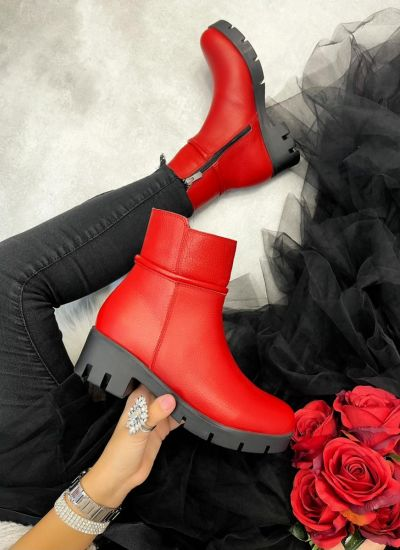 Leather ankle boots LORA - RED