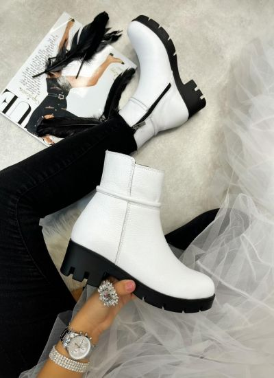 Leather ankle boots LORA - WHITE