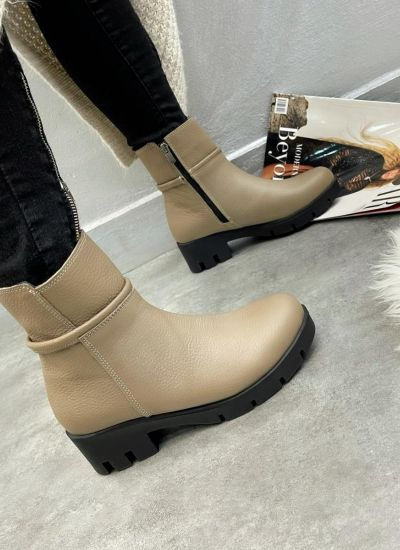 Leather ankle boots LORA - BEIGE