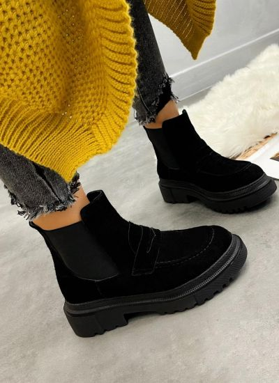 Leather ankle boots INA NUBUCK - BLACK
