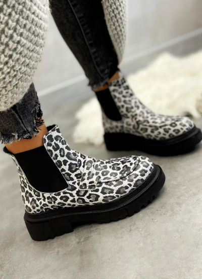 Leather ankle boots INA LEOPARD - WHITE