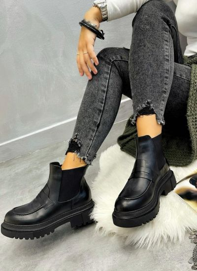 Leather ankle boots INA - BLACK