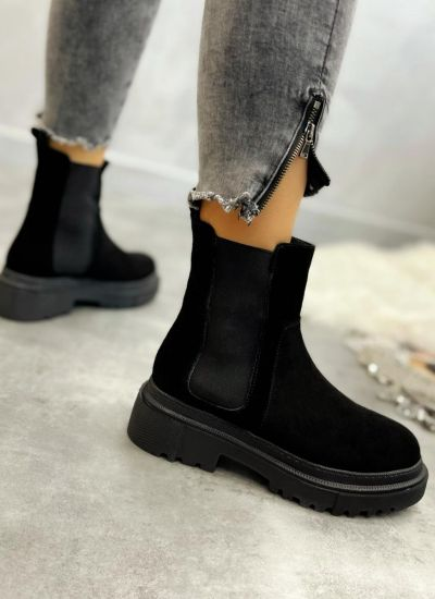 Leather ankle boots ZOE NUBUCK - BLACK