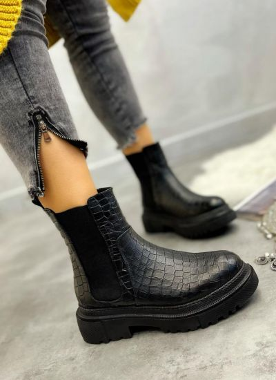 Leather ankle boots ZOE - BLACK
