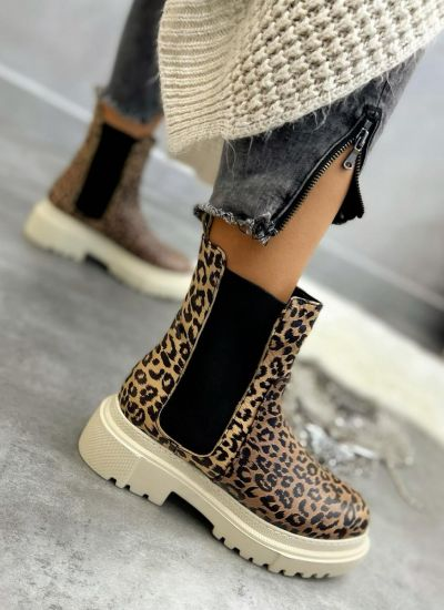 Leather ankle boots ZOE LEOPARD - BEIGE