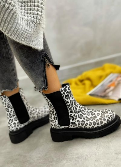 Leather ankle boots ZOE LEOPARD - WHITE