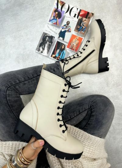 Leather ankle boots ZOJA - LIGHT BEIGE