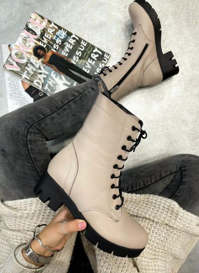 Leather ankle boots ZOJA - BEIGE