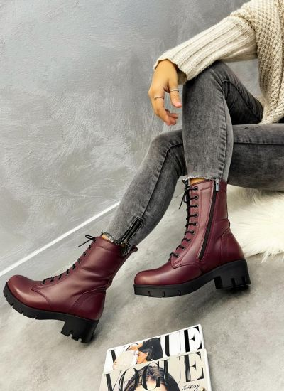 Leather ankle boots ZOJA - WINE RED
