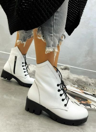 Leather ankle boots GALINA - WHITE