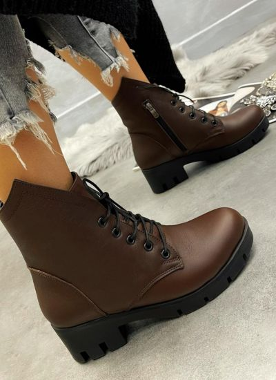 Leather ankle boots GALINA - BROWN