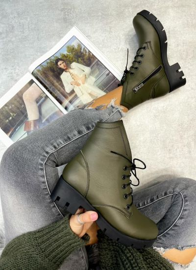 Leather ankle boots GALINA - DARK GREEN